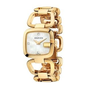 Gold tone stainless steel G-shaped Gucci watch